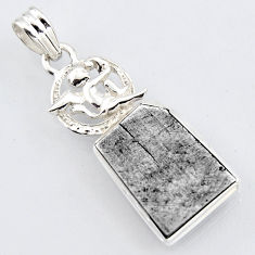 925 silver 14.23cts natural grey meteorite gibeon fancy angel pendant r3470