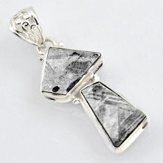 16.06cts natural grey meteorite gibeon 925 sterling silver pendant jewelry r3481