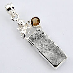 17.40cts natural grey meteorite gibeon silver cupid angel wings pendant r3488