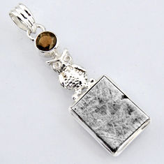 925 silver 14.45cts natural grey meteorite gibeon smoky topaz owl pendant r3489