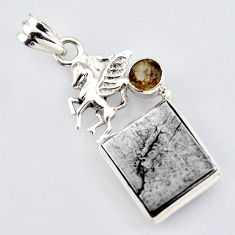 16.54cts natural grey meteorite gibeon 925 silver unicorn pendant jewelry r3490