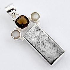 925 silver 16.54cts natural grey meteorite gibeon smoky topaz pendant r3491