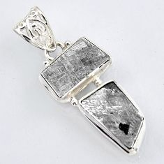 15.02cts natural grey meteorite gibeon 925 sterling silver pendant jewelry r3492