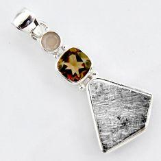 925 silver 14.45cts natural grey meteorite gibeon smoky topaz pendant r3498