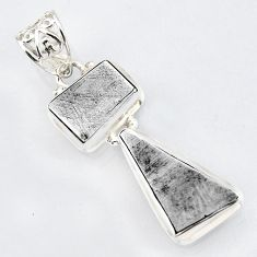 925 sterling silver 15.55cts natural grey meteorite gibeon pendant jewelry r3500