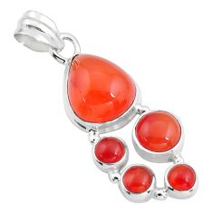 10.99cts natural orange cornelian (carnelian) 925 sterling silver pendant r4762