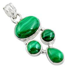 13.79cts natural green malachite (pilot's stone) 925 silver pendant r4772