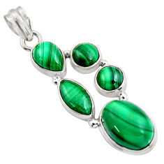 925 silver 20.45cts natural green malachite (pilot's stone) oval pendant r4774