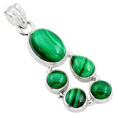 14.99cts natural green malachite (pilot's stone) 925 silver pendant r4776