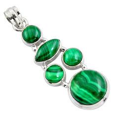 18.98cts natural green malachite (pilot's stone) 925 silver pendant r4778