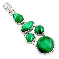 18.51cts natural green malachite (pilot's stone) 925 silver pendant r4779