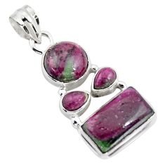 13.45cts natural pink ruby zoisite 925 sterling silver pendant jewelry r4794