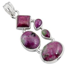 15.26cts natural pink ruby zoisite 925 sterling silver pendant jewelry r4795