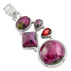 925 sterling silver 16.25cts natural pink ruby zoisite garnet pendant r4797
