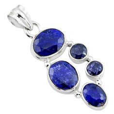 11.02cts natural blue sapphire 925 sterling silver pendant jewelry r4801