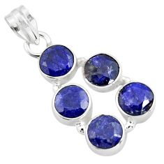 9.63cts natural blue sapphire 925 sterling silver pendant jewelry r4802