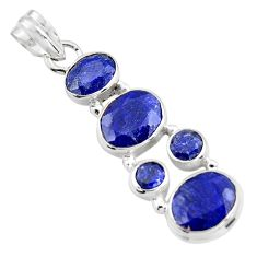 11.02cts natural blue sapphire 925 sterling silver pendant jewelry r4806