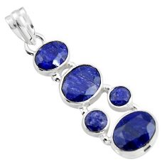 11.37cts natural blue sapphire 925 sterling silver pendant jewelry r4809