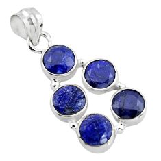 10.60cts natural blue sapphire 925 sterling silver pendant jewelry r4811