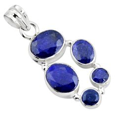 11.02cts natural blue sapphire 925 sterling silver pendant jewelry r4812