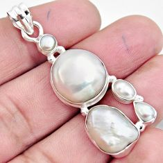 925 sterling silver 18.66cts natural white pearl pendant jewelry r4816