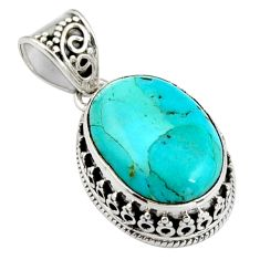 13.69cts green arizona mohave turquoise 925 sterling silver pendant r4848