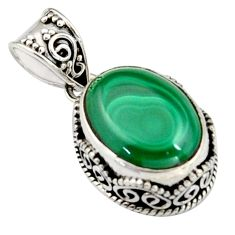 9.39cts natural green malachite (pilot's stone) oval 925 silver pendant r4859
