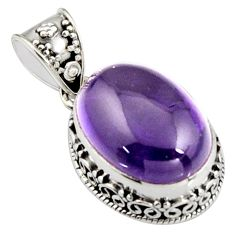 13.73cts natural purple amethyst 925 sterling silver pendant jewelry r4863