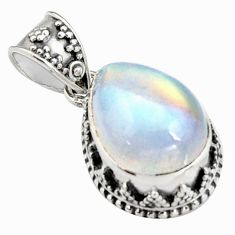 10.33cts natural rainbow moonstone 925 sterling silver pendant jewelry r4886