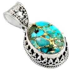 9.27cts blue copper turquoise 925 sterling silver pendant jewelry r4912