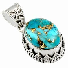 925 sterling silver 9.65cts blue copper turquoise oval pendant jewelry r4917