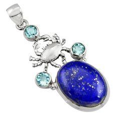 19.56cts natural blue lapis lazuli topaz 925 sterling silver crab pendant r5082