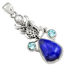 15.69cts natural blue lapis lazuli topaz pearl 925 silver owl pendant r5088