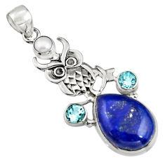 925 silver 15.69cts natural blue lapis lazuli topaz pearl owl pendant r5089