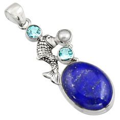 19.12cts natural blue lapis lazuli topaz pearl 925 silver fish pendant r5090