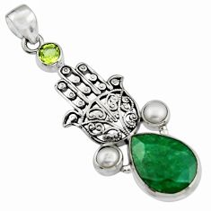 14.04cts natural green emerald pearl 925 silver hand of god hamsa pendant r5092