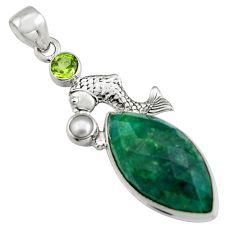925 silver 17.67cts natural green emerald peridot pearl fish pendant r5094