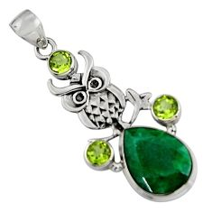 13.84cts natural green emerald peridot 925 sterling silver owl pendant r5096