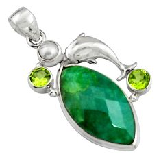 925 silver 18.49cts natural green emerald peridot pearl dolphin pendant r5098
