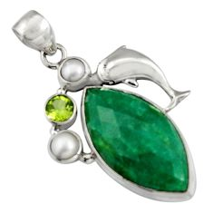 925 silver 19.43cts natural green emerald peridot pearl dolphin pendant r5100