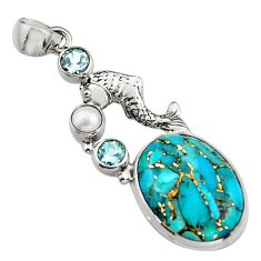 16.46cts blue copper turquoise topaz pearl 925 silver fish pendant r5101