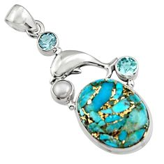 18.22cts blue copper turquoise topaz pearl 925 silver dolphin pendant r5103