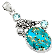 925 silver 16.93cts blue copper turquoise topaz pearl pendant jewelry r5104