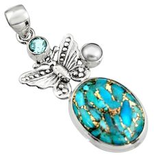 15.47cts blue copper turquoise topaz pearl 925 silver butterfly pendant r5106