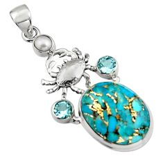 18.63cts blue copper turquoise topaz pearl 925 silver crab pendant r5108
