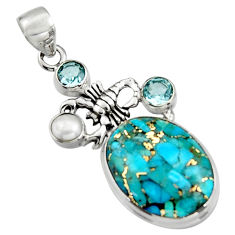 925 silver 15.97cts blue copper turquoise topaz pearl scorpion pendant r5109