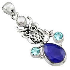 7.78cts natural blue sapphire topaz pearl 925 sterling silver owl pendant r5110