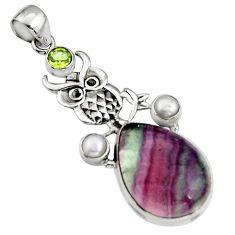20.54cts natural multi color fluorite peridot pearl 925 silver owl pendant r5112
