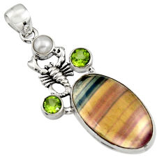 19.12cts natural multi color fluorite peridot 925 silver scorpion pendant r5116