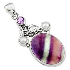 925 silver 22.75cts natural multi color fluorite amethyst owl pendant r5118